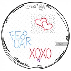 Strass Herzen & Text XOXO Februar